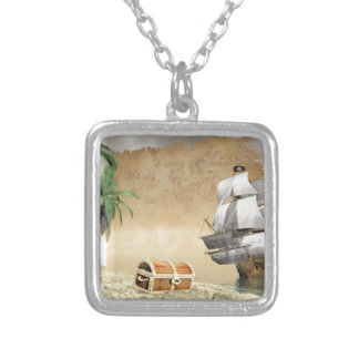 Pirate ship that discovers a treasure square pendant necklace