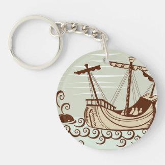 Pirate Ship & Whale Keychain