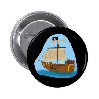 Pirate Ship with Flag Pinback Buttons