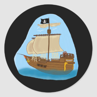 Pirate Ship with Flag Classic Round Sticker