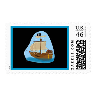 Pirate Ship with Flag Postage Stamps