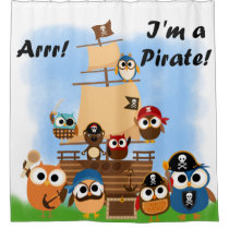 Pirate Ship With Owls and Bear Pirates Shower Curtain