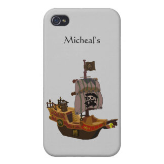 Pirate Ship with Skull Crossbones Flag and Sail iPhone 4/4S Cases