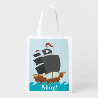 Pirate Ship Reusable Grocery Bag