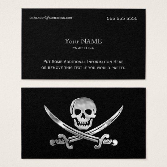 Pirate silver business card zazzle pirate silver business card colourmoves