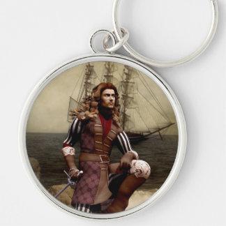 Pirate - Silver Round Keychain