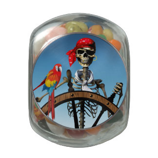 Pirate Skeleton Sailor with Macaw Halloween Party Glass Candy Jars