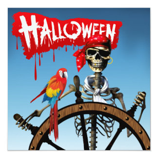 Pirate Skeleton Sailor with Macaw Halloween Party Card