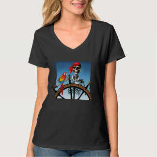 Pirate Skeleton Sailor with Macaw Halloween T-Shirt
