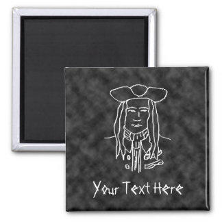 Pirate Sketch. Black and White. 2 Inch Square Magnet