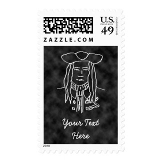 Pirate Sketch. Black and White. Postage Stamp