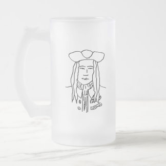 Pirate Sketch. Frosted Glass Beer Mug