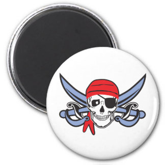 Pirate Skull 2 Inch Round Magnet