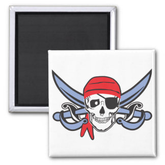 Pirate Skull 2 Inch Square Magnet
