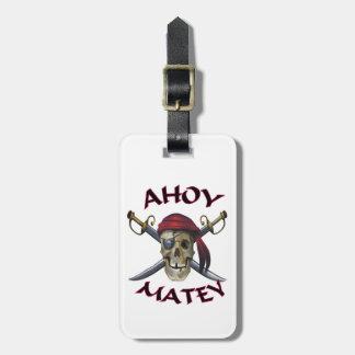 Pirate skull Ahoy Matey Bag Tag