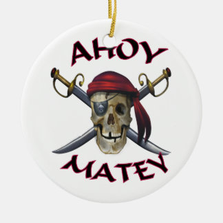 Pirate skull Ahoy Matey Ceramic Ornament