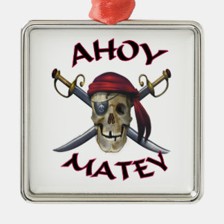 Pirate skull Ahoy Matey Metal Ornament