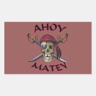 Pirate skull ahoy rectangular sticker