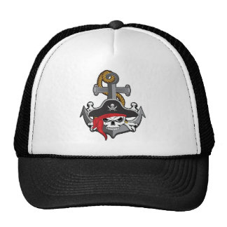 Pirate Skull Anchor Trucker Hat