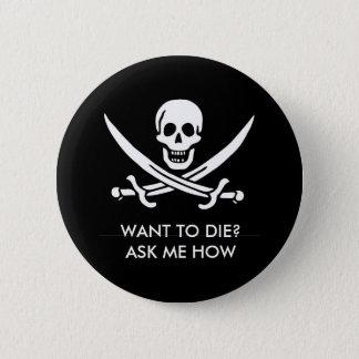 Pirate skull and bones pinback button