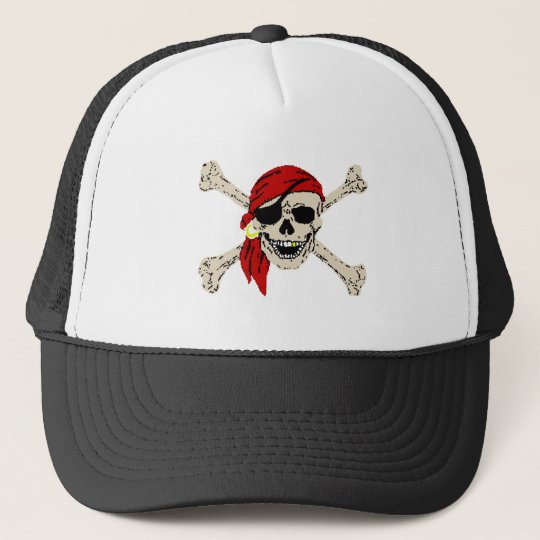 Pirate Skull and Bones Trucker Hat