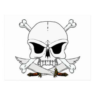 Pirate skull and cross bones 2 postcard