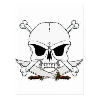Pirate skull and cross bones 2 post card