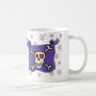 Pirate: Skull and Cross Bones Flag with Stars Classic White Coffee Mug