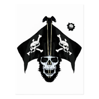 Pirate skull and cross bones postcard