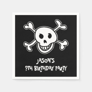 Pirate skull and crossbones Birthday party napkins