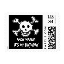 Pirate skull and crossbones Birthday party stamps