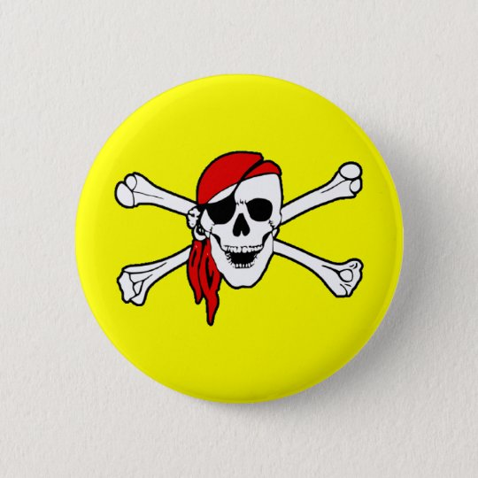 Pirate Skull and Crossbones Button