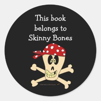 Pirate Skull and Crossbones Custom Bookplate Classic Round Sticker