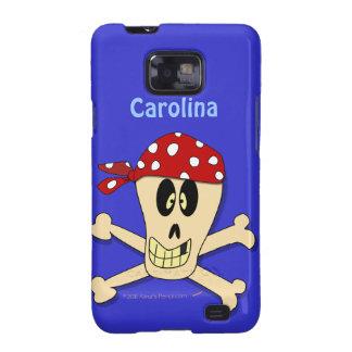 Pirate Skull and Crossbones Custom Name Samsung Galaxy Case