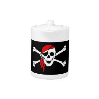 Pirate Skull and crossbones Flag Teapot