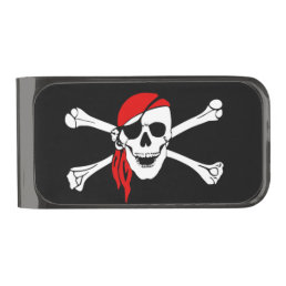 Pirate skull and crossbones gunmetal finish money clip