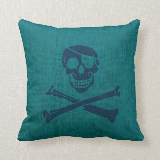Pirate Skull and Crossbones in Ocean Green Blue Throw Pillow
