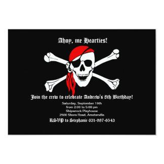 "Pirate Skull and Crossbones Invitation 5"" X 7"" Invitation Card"