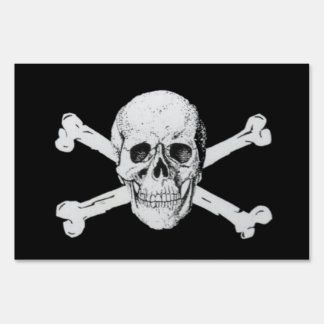 Pirate Skull and Crossbones Lawn Sign