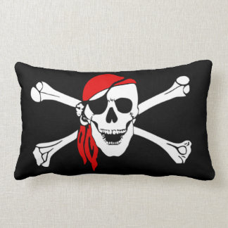 Pirate skull and crossbones lumbar pillow