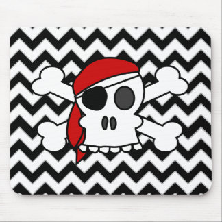 Pirate Skull and Crossbones on Chevron Pattern Mouse Pad