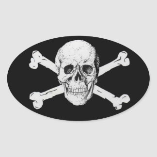 Pirate Skull and Crossbones Oval Sticker