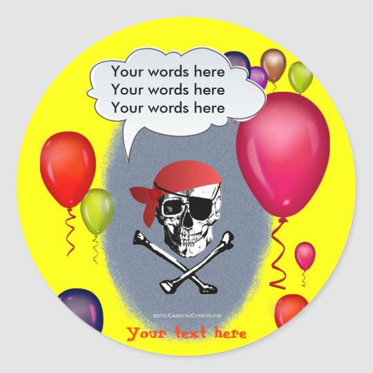 Pirate Skull and Crossbones party Classic Round Sticker