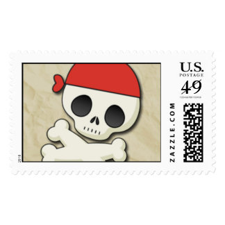 Pirate Skull and Crossbones Postage Template
