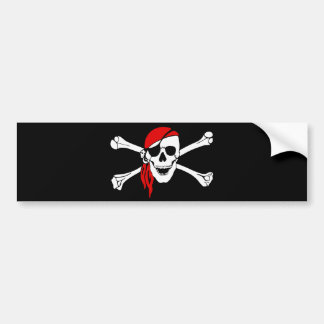 Pirate Skull and Crossbones with Red Bandana Bumper Sticker