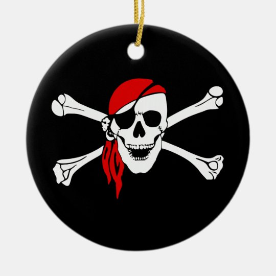 Pirate Skull and Crossbones with Red Bandana Ceramic Ornament