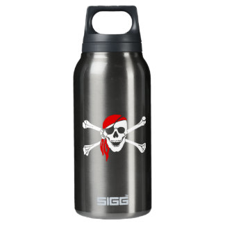 Pirate Skull and Crossbones with Red Bandana Insulated Water Bottle