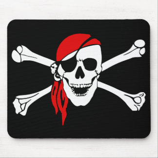 Pirate Skull and Crossbones with Red Bandana Mouse Pad