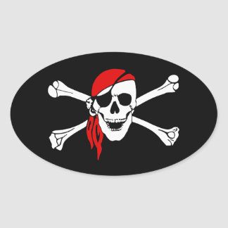 Pirate Skull and Crossbones with Red Bandana Oval Sticker
