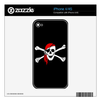 Pirate Skull and Crossbones with Red Bandana Skin For iPhone 4